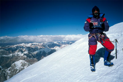 Andrew Lock on the summit of Gasherbrum I