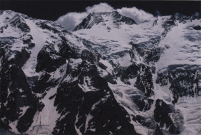 Nanga Parbat's foreboding Kinshoffer face. Nanga Parbat at 8125 metres is the world's 9th highest mountain. Andrew Lock was the 1st Australian to accend the mountain in 1998.