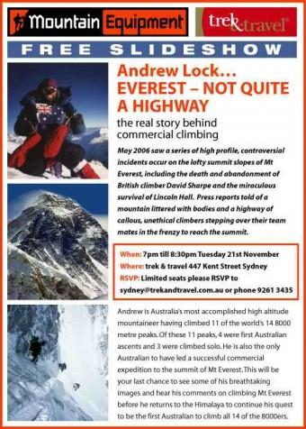 andrew lock mountaineer everest public speaker flyer 2006