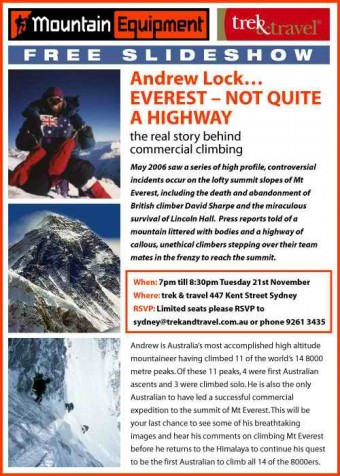 andrew lock mountaineer everest public speaker flyer 2006